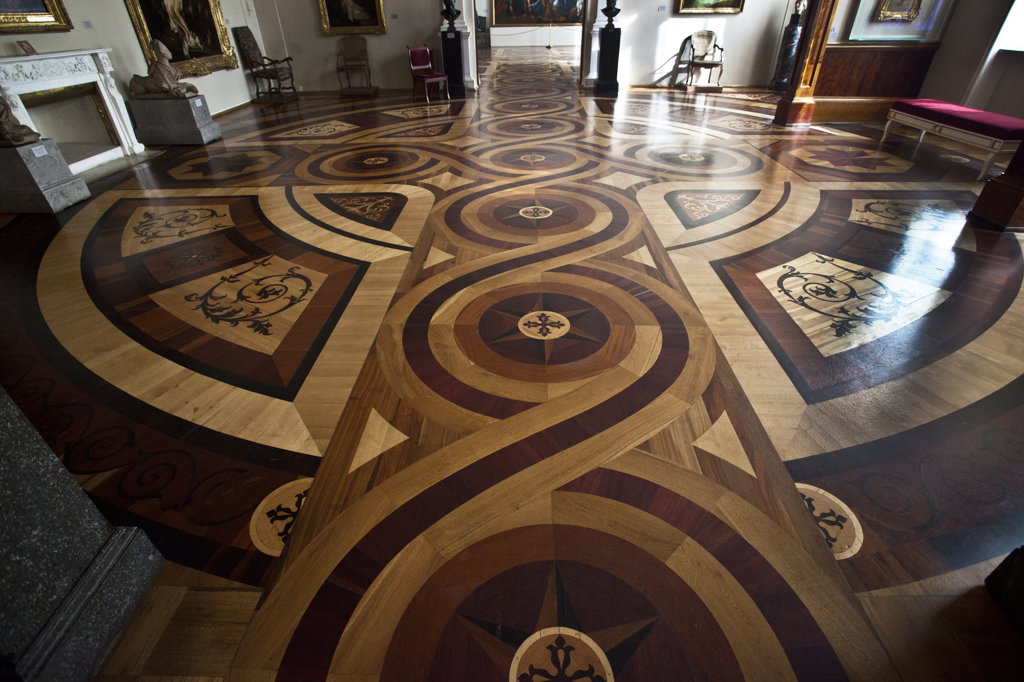 Stock Photo: 1323-1780 Inlaid wooden floor in a museum, State Hermitage Museum, St. Petersburg, Russia