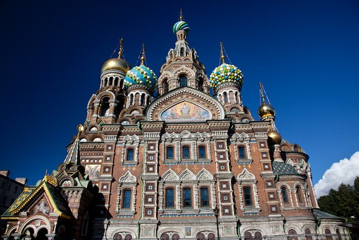 Stock Photo: 1323-1786 Low angle view of the Church of the Savior on Spilled Blood, St. Petersburg, Russia