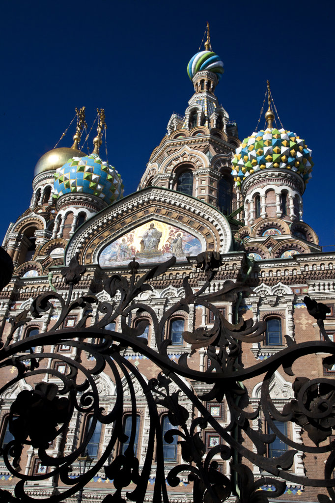 Stock Photo: 1323-1787 Low angle view of the Church of the Savior on Spilled Blood, St. Petersburg, Russia