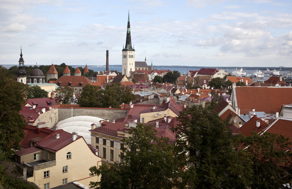 Church in a town, St. Olaf's Church, Old Town, Tallinn, Estonia : Stock Photo