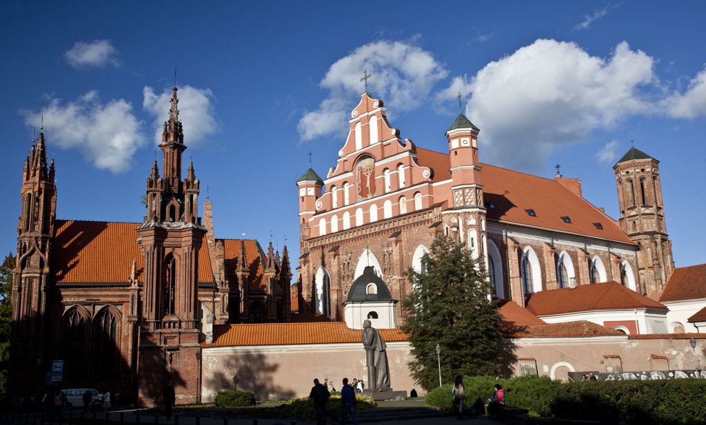 Stock Photo: 1323-1892 Facade of a church, St. Anne's Church, Old Town, Vilnius, Lithuania