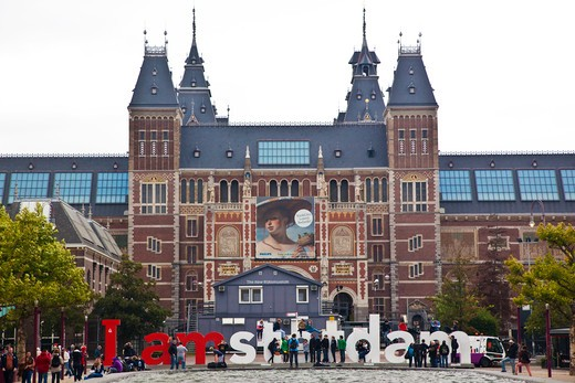 Stock Photo: 1323-1921 Facade of a museum, Rijksmuseum, Amsterdam, Netherlands