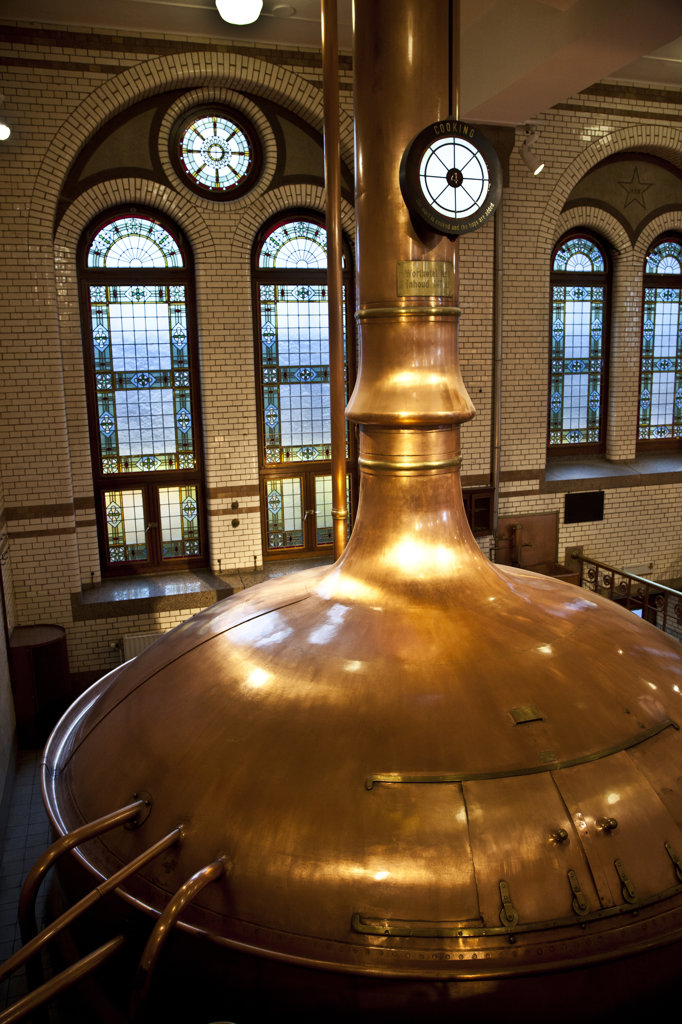 Stock Photo: 1323-1923 High angle view of copper vat at Heineken Brewery, Amsterdam, Netherlands