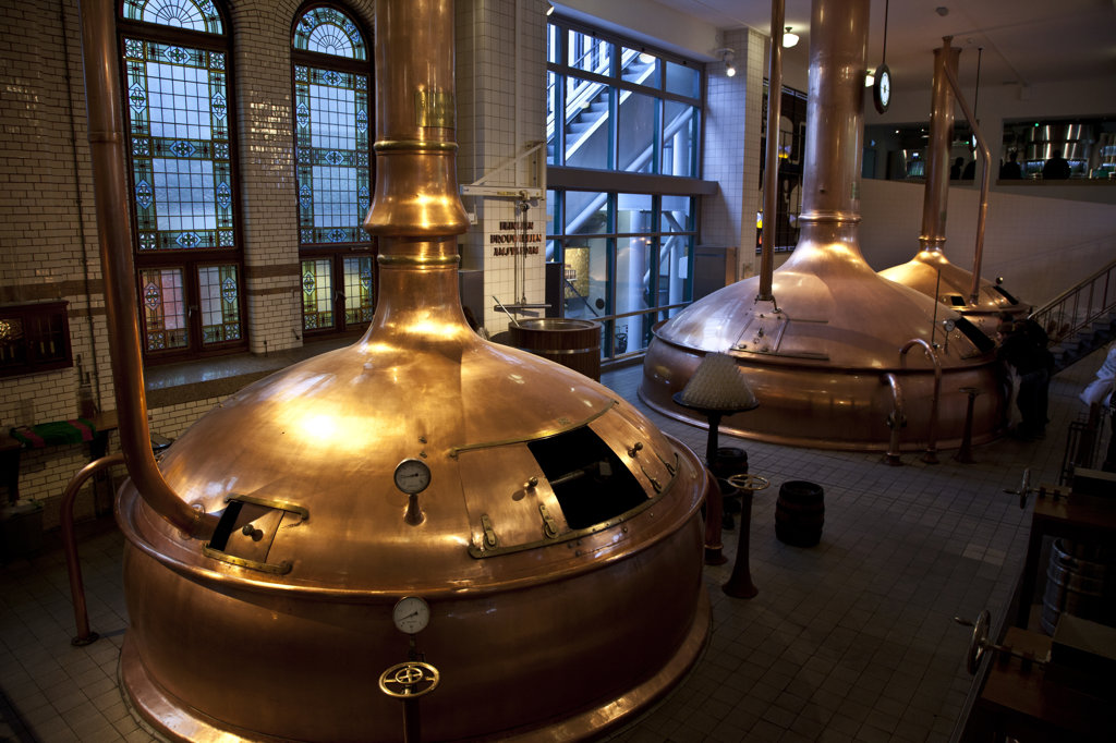 High angle view of copper vats at Heineken Brewery, Amsterdam, Netherlands : Stock Photo