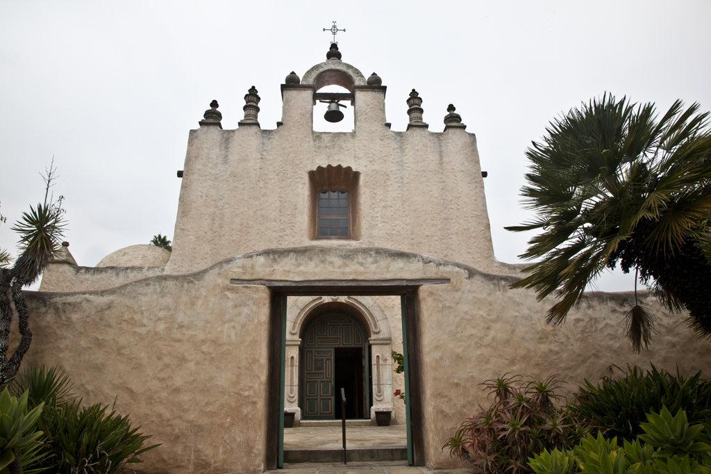 Stock Photo: 1323-1938 Facade of a church, Our Lady of Mount Carmel Church, Montecito, Santa Barbara County, California, USA