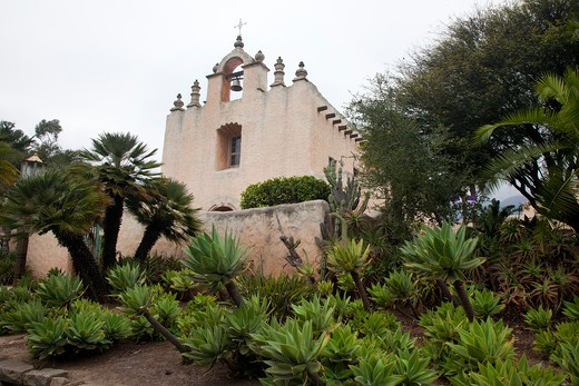 Stock Photo: 1323-1939 Trees and plants outside a church, Our Lady of Mount Carmel Church, Montecito, Santa Barbara County, California, USA