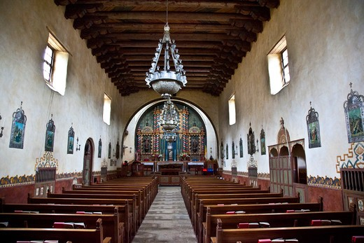Stock Photo: 1323-1943 Interiors of a church, Our Lady of Mount Carmel Church, Montecito, Santa Barbara County, California, USA