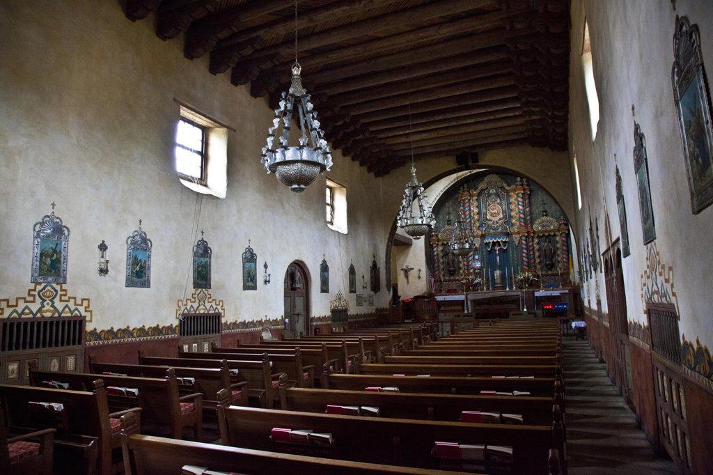 Stock Photo: 1323-1944 Interiors of a church, Our Lady of Mount Carmel Church, Montecito, Santa Barbara County, California, USA