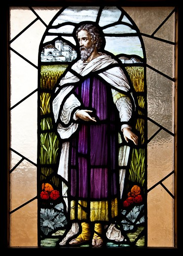 Stained glass window in a church, Our Lady of Mount Carmel Church, Montecito, Santa Barbara County, California, USA : Stock Photo