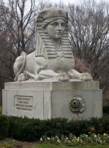 Stock Photo: 1323-1967 USA, Massachusetts, Boston, Sphinx Statue by Martin Millmore at Mount Auburn Cemetery