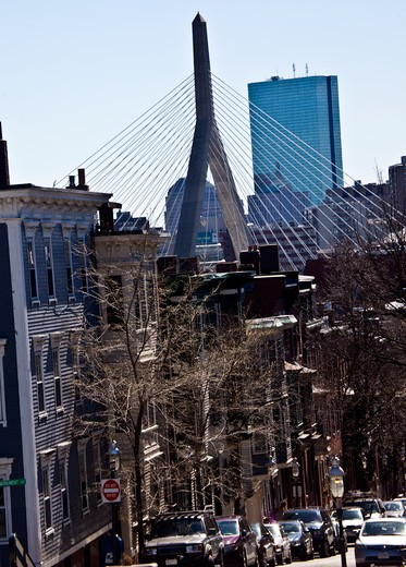 Stock Photo: 1323-2006 USA, Massachusetts, Boston, View of Leonard P. Zakim Bridge from Bunker Hill in Charlestown