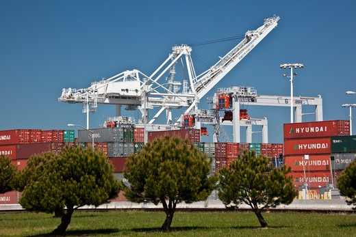 Cargo containers and cranes at a harbor, Oakland, California, USA : Stock Photo