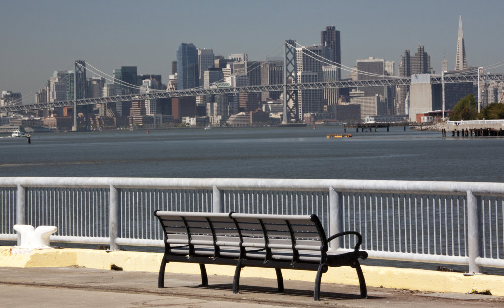 Downtown San Francisco viewed from Oakland, San Francisco Bay, California, USA : Stock Photo