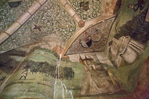 Stock Photo: 1323-2446 Czech Republic, Interior ceiling paintings at Houska Castle