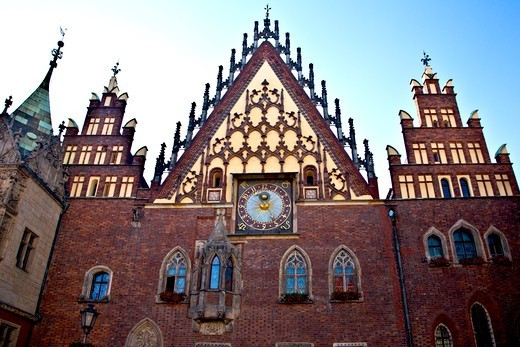 Poland, Wroclaw, Ornamental Facade of Town Hall : Stock Photo