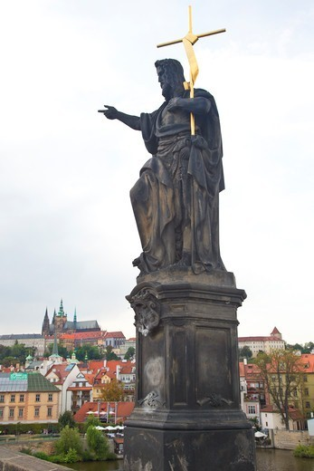 Stock Photo: 1323-2537 Czech Republic, Praque, Statue of St. John the Baptist on Charles Bridge