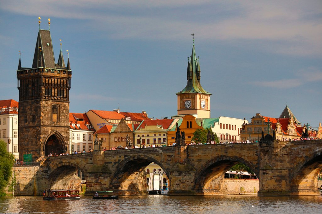Czech Republic, Prague, View of Charles Bridge and Old Town : Stock Photo