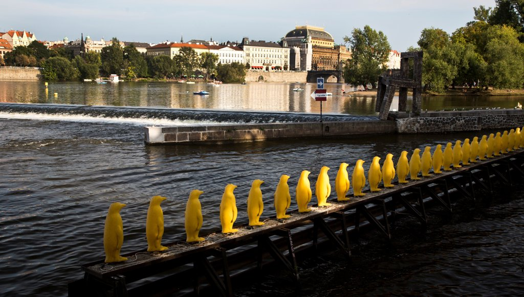 Stock Photo: 1323-2551 Czech Republic, Prague, Penquins lining Vltava River canal