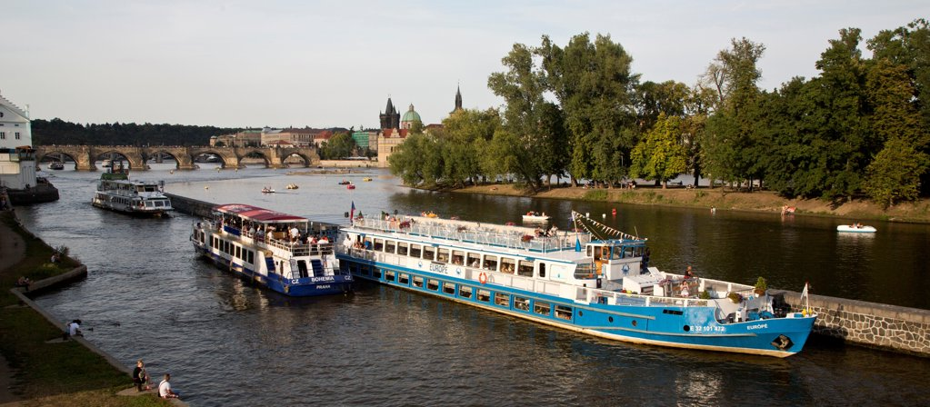 Czech Republic, Prague, Boats on Vltava River Canal : Stock Photo
