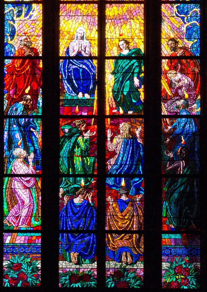 Stock Photo: 1323-2582 Czech Republic, Prague, Stained glass windows in St. Vitus Cathedral