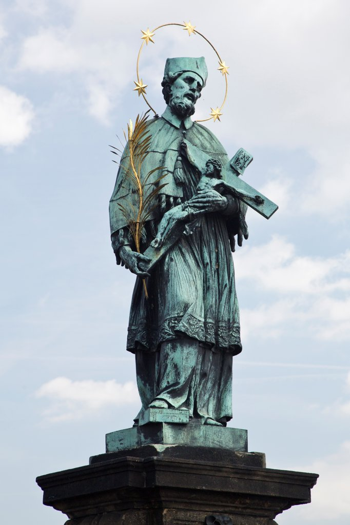 Stock Photo: 1323-2590 Czech Republic, Praque, Statue of St. John of Nepomuk on Charles Bridge