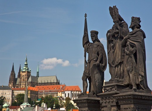 Stock Photo: 1323-2592 Czech Republic, Prague, Statues of St. Norbert, St. Wenceslas, St Sigismund on the Charles Bridge