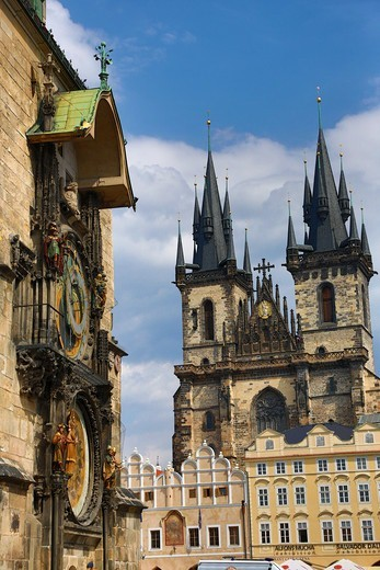 Stock Photo: 1323-2596 Czech Republic, Praque, View of Astronomical Clock and Tyn Church