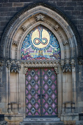 Stock Photo: 1323-2614 Czech Republic, Prague, Vysehrad Castle, Church St Peter and Paul, Door