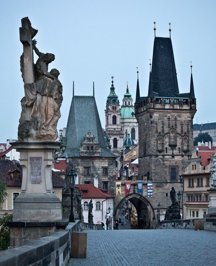 Stock Photo: 1323-2622 Czech Republic, Prague, View of Lesser Town from Charles Bridge