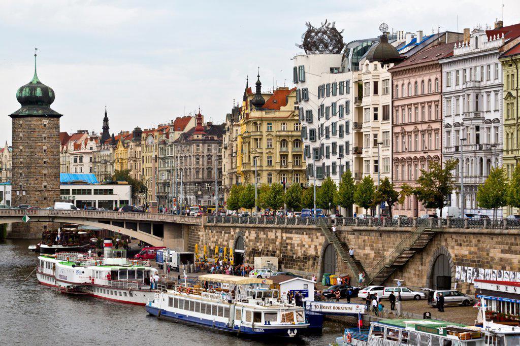 Czech Republic, Prague, Riverfront Boulevard along Vltava River : Stock Photo