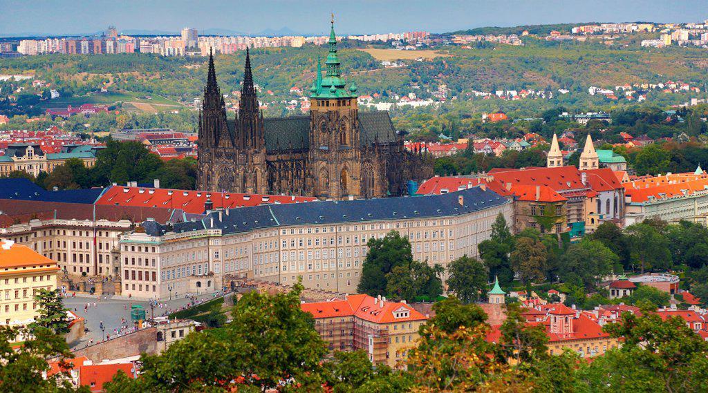 Czech Republic, Prague, Petrin Hill, Prague Castle : Stock Photo