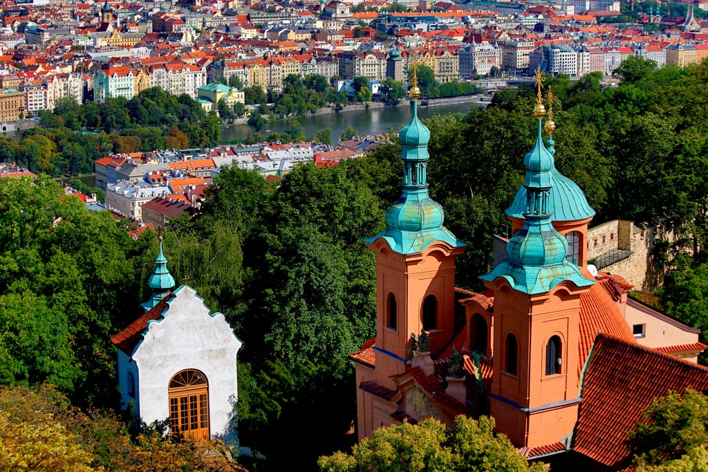 Stock Photo: 1323-2645 Czech Republic, Prague, Petrin Hill, Church of St Vavrinec