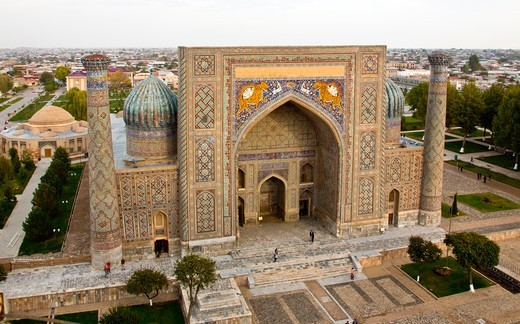 Stock Photo: 1323-2922 Uzbekistan, Samarkand, Registan, Town square and islamic schools