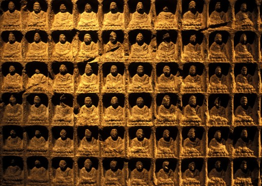 Close-up of statues of Buddha : Stock Photo