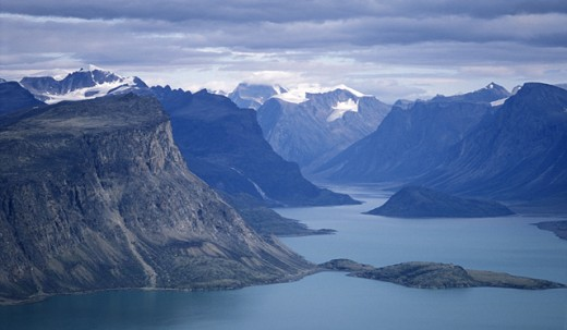 Stock Photo: 1323-492 High angle view of a lake surrounded by mountains, Baffin Island, Nunavut, Canada