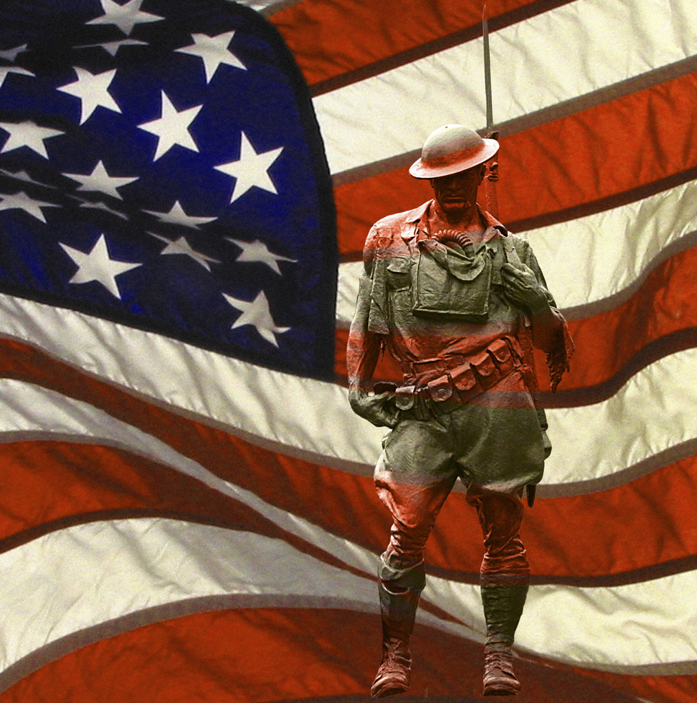 Stock Photo: 1323-494 Close-up of a statue of a soldier with an American flag in the background