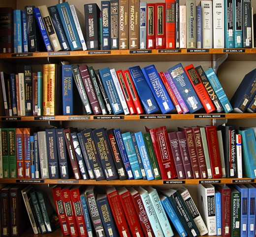 Stock Photo: 1323-499 Close-up of medical books on bookshelves in a library