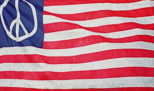 Close-up of an American flag with a peace sign : Stock Photo