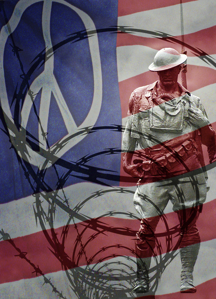 Stock Photo: 1323-541 Close-up of a statue of a soldier and barbed wire with an American flag in the background