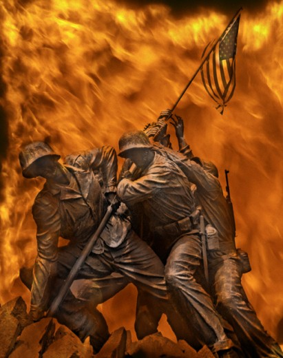 Close-up of the US Marine Corps War Memorial : Stock Photo
