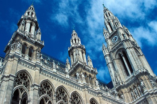Low angle view of a government building, Rathaus, Vienna, Austria : Stock Photo