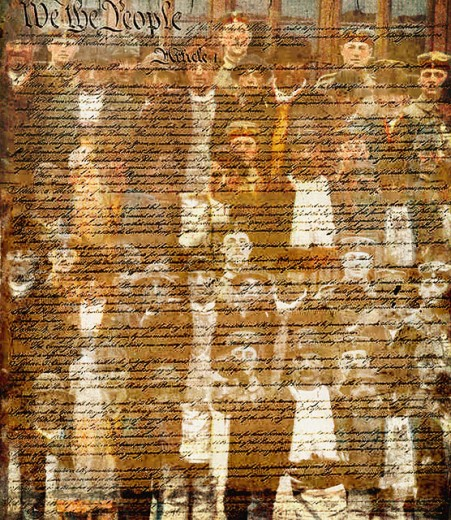 Close-up of the US Constitution superimposed on the image of a group of people : Stock Photo
