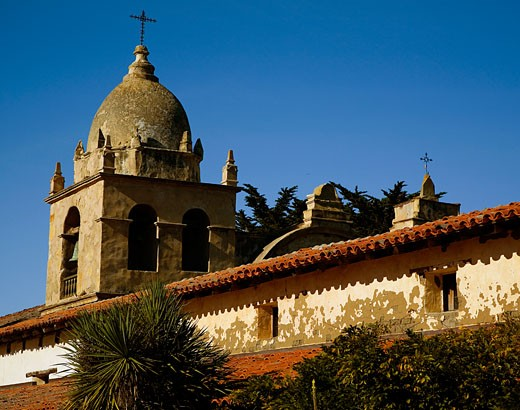 Stock Photo: 1323-656 Low angle view of a church, Carmel Mission, Carmel, California, USA
