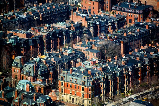 High angle view of buildings in a city, Boston, Suffolk County, Massachusetts, USA : Stock Photo