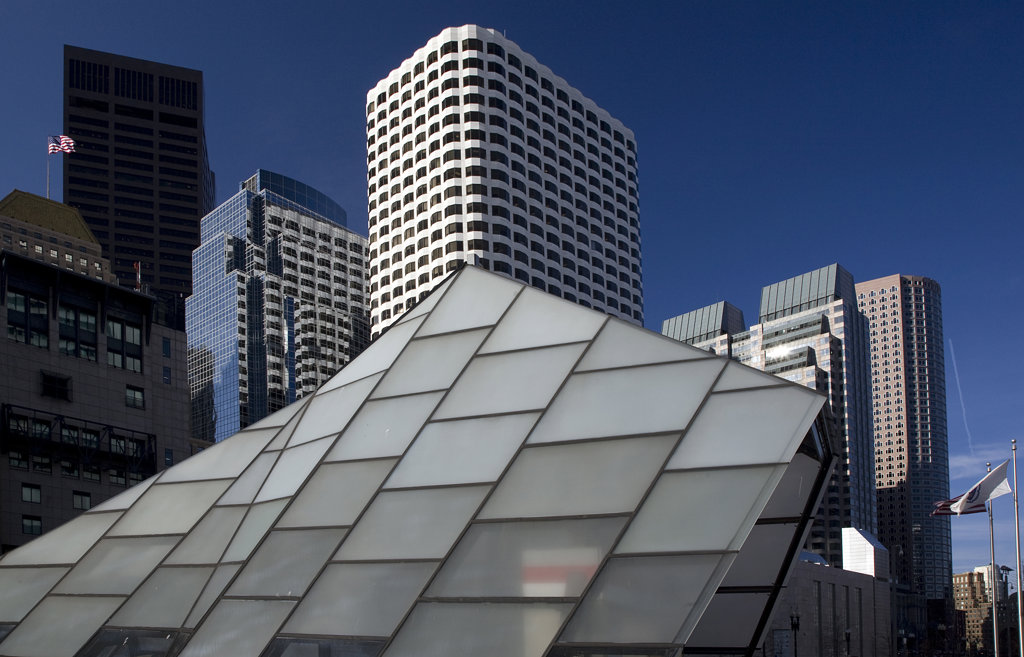 Stock Photo: 1323-795 Low angle view of a subway station with skyscrapers in a city, Boston, Suffolk County, Massachusetts, USA