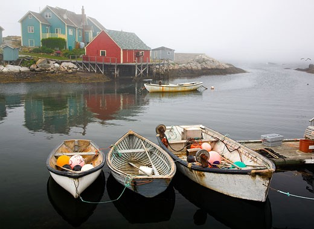 Stock Photo: 1323-835 Fishing boats moored at a dock, Peggy's Cove, Nova Scotia, Canada