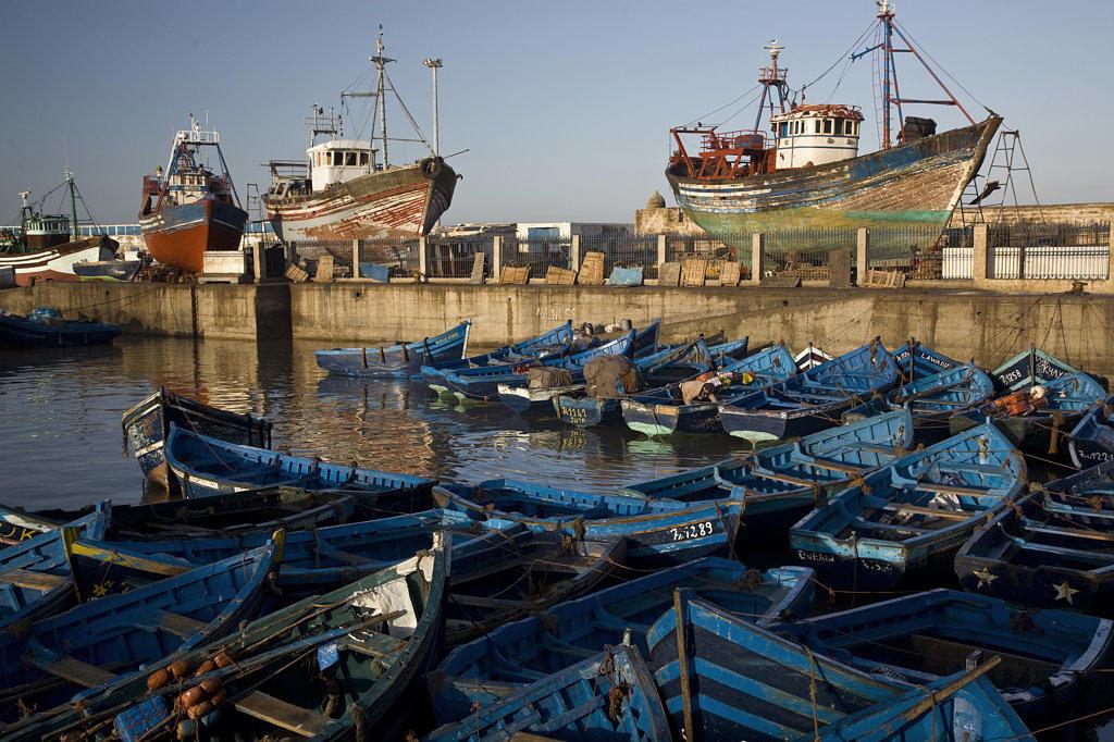 Stock Photo: 1323-845 Fishing boats at a harbor, Essaouira, Morocco