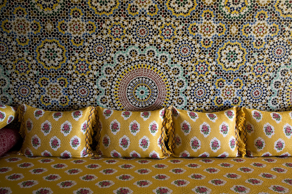 Stock Photo: 1323-866 Morocco fabric pillows on the bed, Morocco