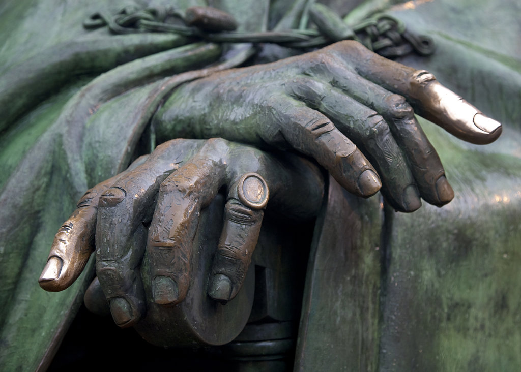 Close-up of a statue of Franklin D. Roosevelt, Franklin Delano Roosevelt Memorial, Washington DC, USA : Stock Photo