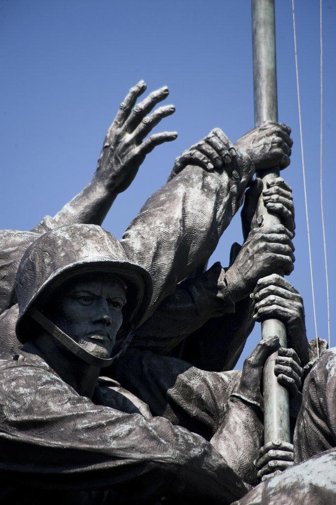 Stock Photo: 1323-902 Low angle view of a war memorial, Iwo Jima Memorial, Arlington National Cemetery, Arlington, Virginia, USA